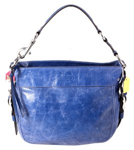 Coach Blue Leather Zoe Hobo Bag