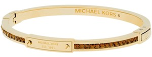 Michael Kors Michael Kors MKJ4716 Women's Brown Crystal Accented Gold Tone Slim Bangle Bracelet