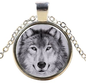 Silver Glass Cabochon Wolf Pendant Necklace Free Shipping
