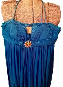 Marc Bouwer Rhinestones Spaghetti Straps Long Silk Glamit Dress