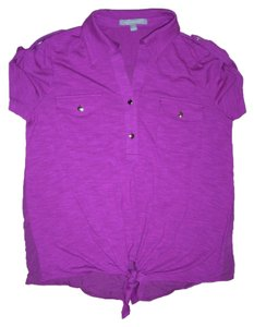 New York & Company Self-tying Hem Easy Fit Short Sleeve Point Collar Top Purple
