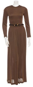Oscar de la Renta Belted Striped Vintage Gown Dress