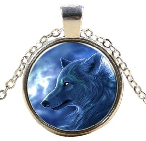 Other Blue Moon Wolf Glass Cabochon Pendant Necklace Free Shipping