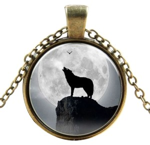 Other Glass Cabochon Wolf Howling At The Moon Bronze Necklace Free Shipping