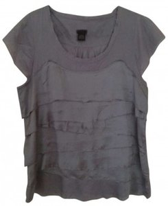 Calvin Klein Xl Womens Juniors Cotton Casual Date Night Night Out Scalloped T-shirt T Shirt Gray