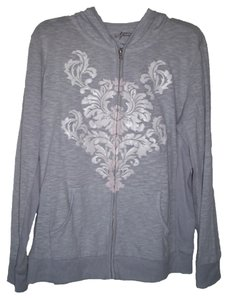 Style & Co Cotton/polyester Machine Wash Imported Attached Hood Zip Up Long Sleeves Embellish Scroll On Sweatshirt