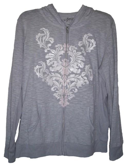 Style & Co Cotton/Polyester Machine Wash Imported Attached Up Long Sleeves Embellish Scroll Print On Front Kangaroo Pocket At At Sweatshirt