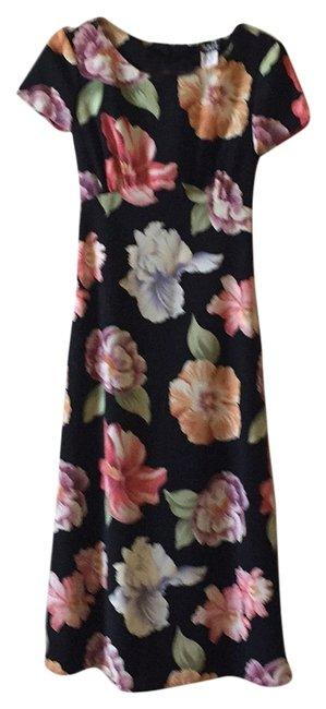 Helene Blake Black W/ Tropical Flower Print Long Casual Maxi Dress Size 8 (M) Helene Blake Black W/ Tropical Flower Print Long Casual Maxi Dress Size 8 (M) Image 1