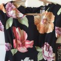 Helene Blake Black W/ Tropical Flower Print Long Casual Maxi Dress Size 8 (M) Helene Blake Black W/ Tropical Flower Print Long Casual Maxi Dress Size 8 (M) Image 2
