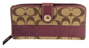 Coach SIGNATURE C ZIP AROUND SNAP WALLET PURPLE