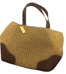 Charter Club Tote in Tan with brown leather trim