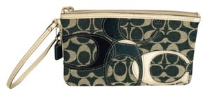Coach Applique Denim Wristlet Large