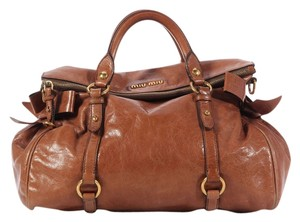 Miu Miu Brown Beige Bows Mm.ek0209.15 Satchel