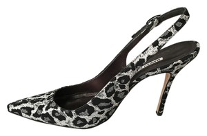 Manolo Blahnik Black and White leopard print Pumps
