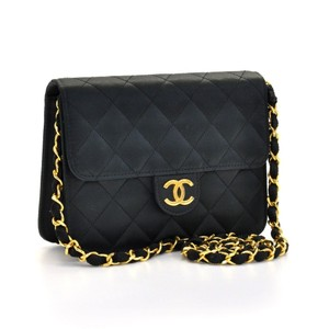 Chanel Vintage Quited Satin Gold Shoulder Bag