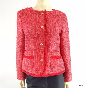 Talbots Talbots 12p Red-orange Collarless Tweed Blazer Jacket Fringe Trim