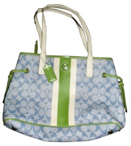 Coach Satchel in Light blue, green, and white