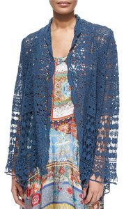 Johnny Was Crochet Scalloped Cotton Bohemian Festival Cardigan
