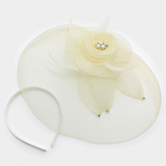Ivory Dual Flower Feather Mesh Net Pearl Crystal Accent Fascinator Barrette Clip Hair Accessory Image 1
