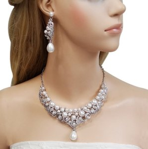 Bridal Jewelry Bridal Necklace Pearl Necklace Swarovski Crystal And Pearl Bridal Necklace And Earrings Set