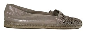 Vince Camuto Leather Metallic Espadrilles Beige Flats