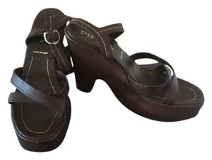 Prada Platform Wedge Leather Brown Sandals