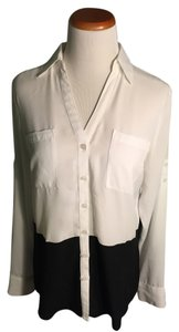 Express Button Down Shirt White/Black