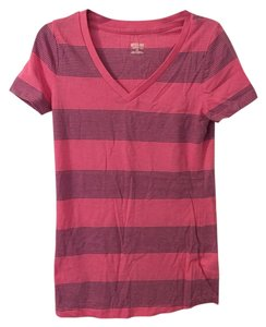 Mossimo Supply Co. V-neck Stripes T Shirt Pink