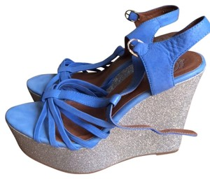 Jeffrey Campbell Blue and Silver Wedges