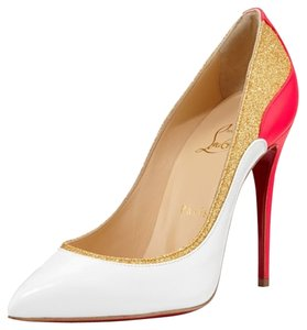 81b3687dc7d Christian Louboutin White Tucskick Giittered Red Sole with Pink/Gold  Details Pumps Size US 10 Regular (M, B) 43% off retail