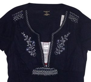 Northcrest Large Peasant Embroidered Top Navy
