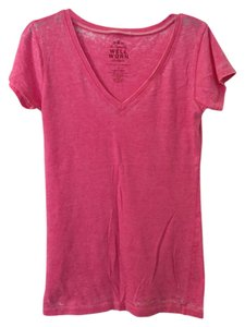 Well Worn Faded V-neck Casual T Shirt Pink