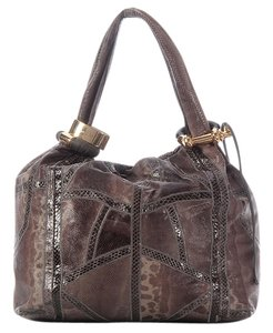 Jimmy Choo Brown Green Snakeskin Hobo Bag
