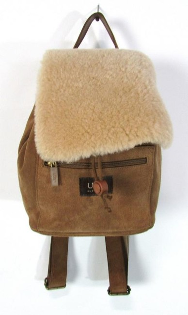 Item - Shearling Purse Drawstring Small Brown Suede Backpack