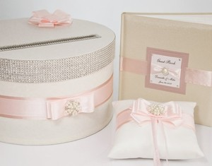 Wedding Set - Card Box Ring Pillow Guest Book - Ecru / Pink