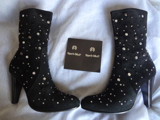 Nando Muzi Suede Leather Swarovski Crystal Genuine Suede Made In Italy Womens black Boots