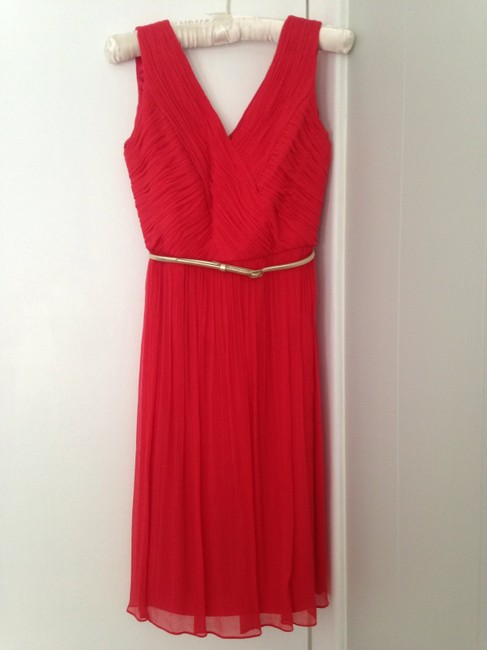 Item - Red Silk Pleated Formal Bridesmaid/Mob Dress Size 0 (XS)