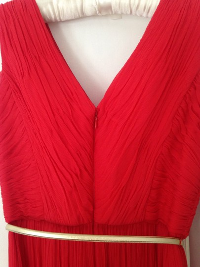 Donna Morgan Red Silk Pleated Formal Bridesmaid/Mob Dress Size 0 (XS)