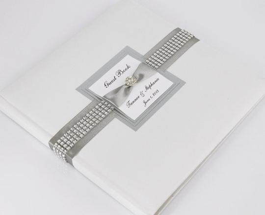 White and Silver Wedding Guest Book - Personalized