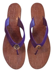 Tory Burch Cork Patent Leather Preppy Desert purple Sandals