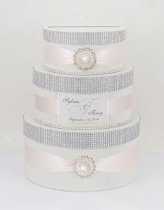 Card Box / Wedding Box / Wedding Money Box - 3 Tier - Ivory Ligh Salmon