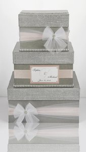 Card Box / Wedding Box / Wedding Money Box - 3 Tier - Personalized - Silver Blush