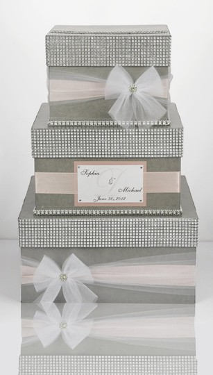 Card Box / Box / Money Box - 3 Tier - Personalized - Silver Blush