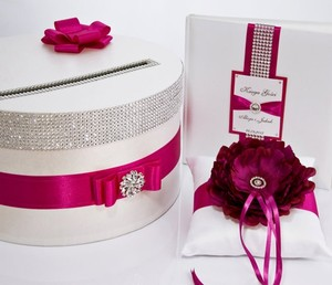 Wedding Set - Card Box Ring Pillow Guest Book - Hot Pink Fuchsia Amarant