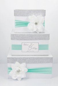 Card Box / Wedding Box / Wedding Money Box - 3 Tier - Personalized - Mint