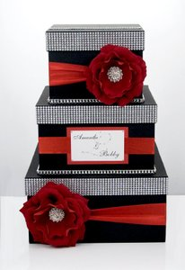 Card Box / Wedding Box / Wedding Money Box - 3 Tier - Personalized - Black And Red