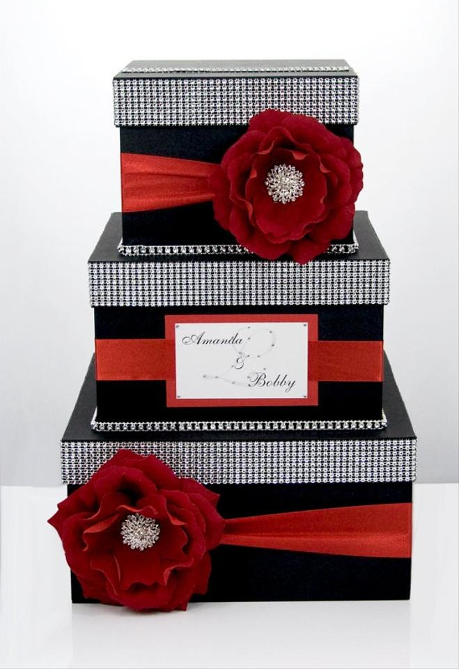 Card Box Box Money Box 3 Tier Personalized Black And Red