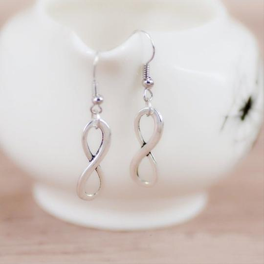 Handmade Cute Silver Plated Infinity Dangle Earrings, Free Shipping