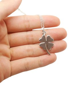 Other SALE Cute-Four-Leaf-Clover-Necklace-925-Sterling-Silver-Luck-Lucky-Good-Luck