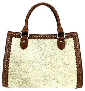 Montana West Genuine Leather Satchel in Natural